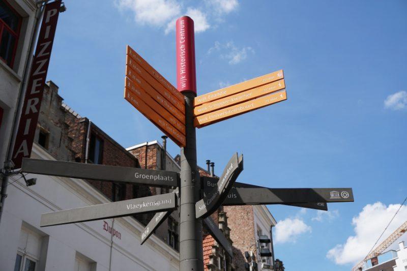Dank guter Beschilderung ist Antwerpen perfekt geeignet fuer einen Spaziergang