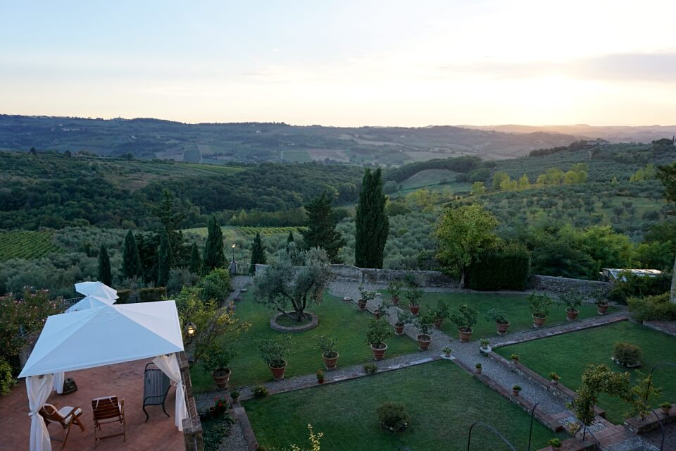 Ausblick von unserem Zimmer auf den Garten der Villa Talente in der Toskana