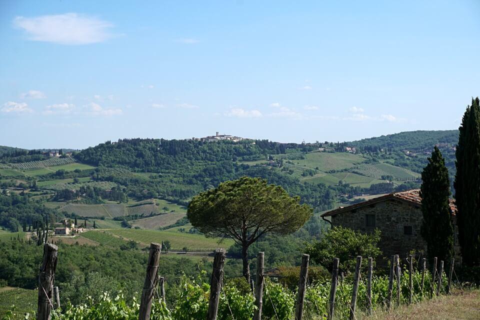 Ausblicke beim Wandern im Chianti Gebiet der Toskana