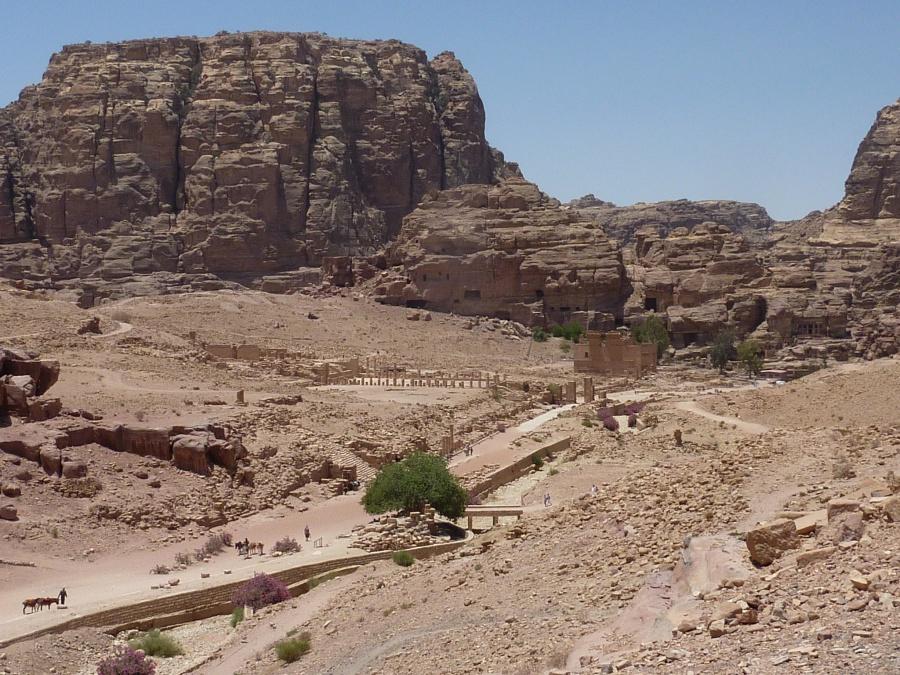 Blick ueber den Carlo Maximus, die roemische Straße in Petra