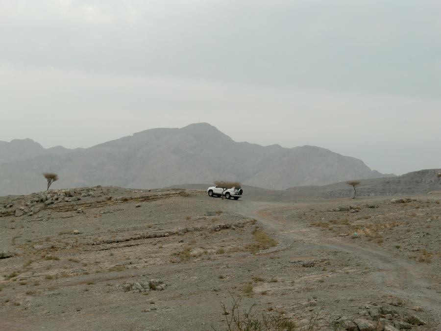 Unser Toyota Landcruiser in den Bergen Musandams