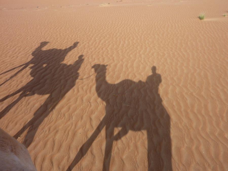 Lisa und Marco beim Kamelreiten in der Wahiba Sands Oman