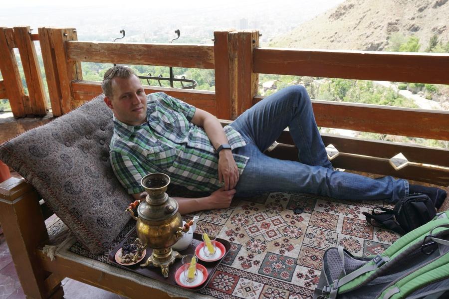 Beim Tee trinken im Norden Teherans