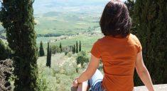 Ausblick von Pienza auf die Chianti Region in der Toskana