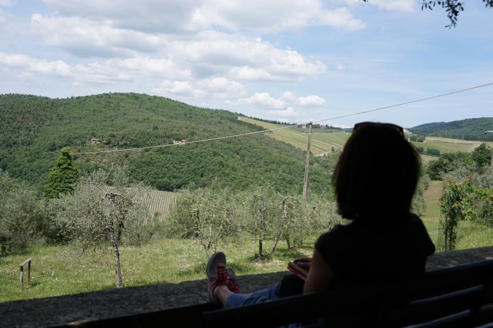 Pause auf unserer Wanderung von Gaiole durch das Chianti in der Toskana