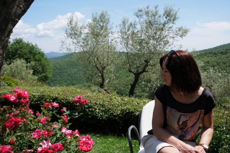 Lisa beim Wine Tasting im Chianti