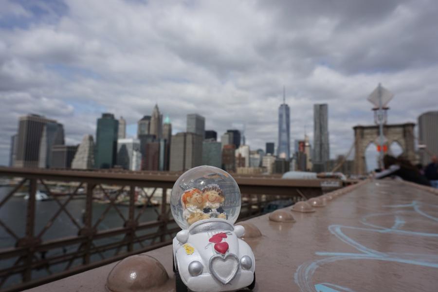 Unser Hochzeitsauto auf der Brooklyn Bridge