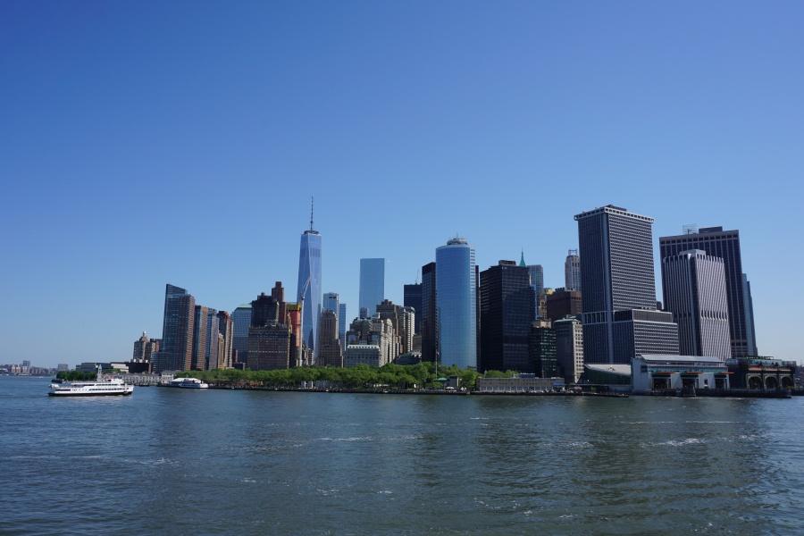 Skyline New York von der Staten Island Ferry