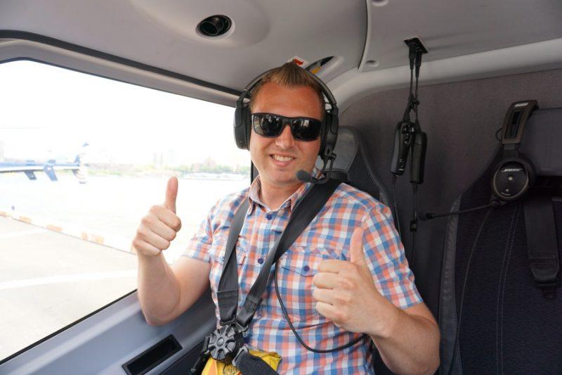 Marco im Hubschrauber über New York