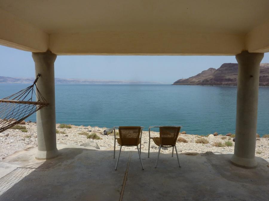 Unschlagbarer Ausblick von unserem Chalet aufs Tote Meer