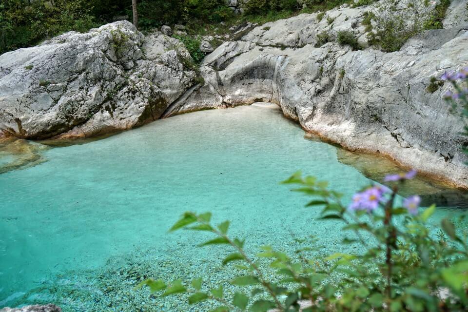 Badestelle im Soca Tal bei Bovec