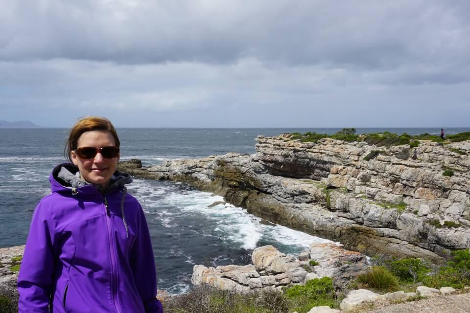Etwas stuermisch wars bei der Walbeobachtung auf dem Cliff Path in Hermanus