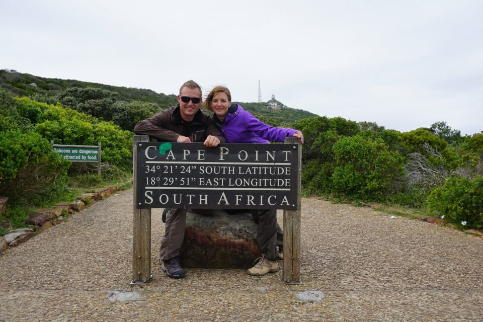 Lisa und Marco am Kap der guten Hoffnung in Suedafrika