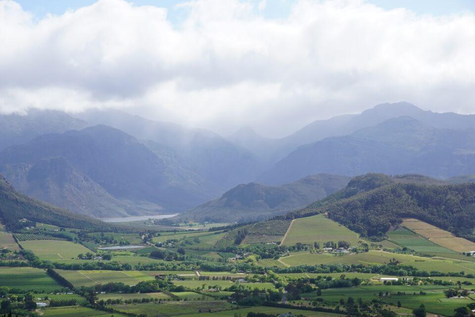 Blick vom Pass ins Franschhoek Valley