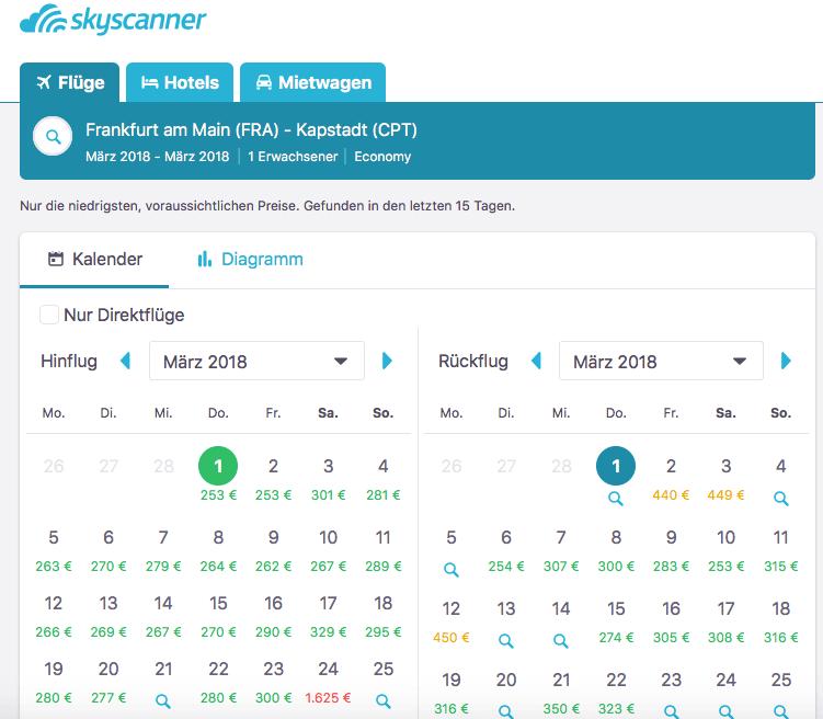 Die Flugsuchmaschine Skyscanner zeigt dir die günstigsten Flugdaten pro Monat