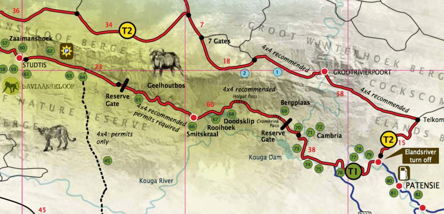 Offizielle Karte des Baviaanskloof Nature Reserve