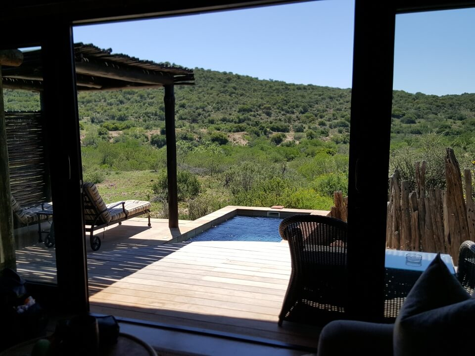 Terrasse mit Pool im Kwandwe Private Game Reserve in Suedafrika