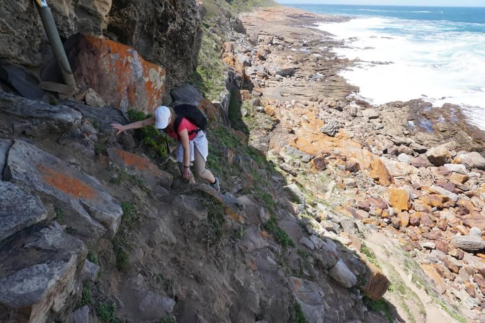 An manchen Stellen des Hiking Trail im Robberg Nature Reserve muss man klettern