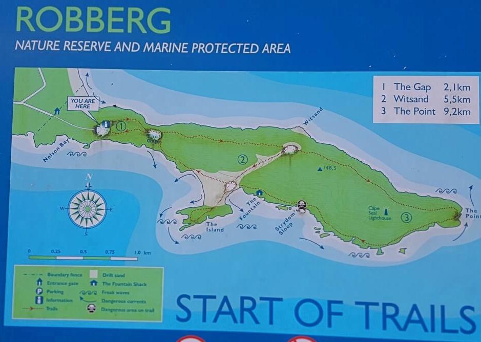 Wanderkarte Robberg Nature Reserve Reiseblog Road Traveller