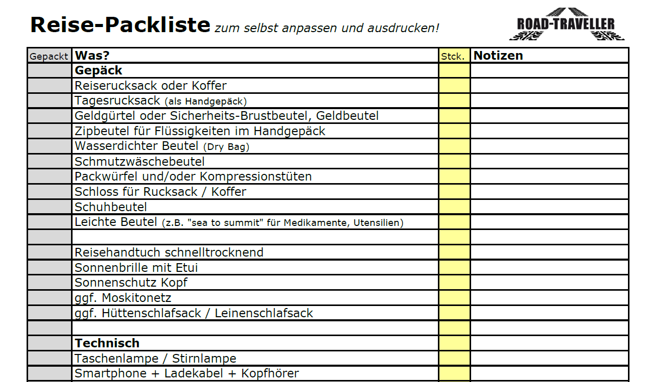 Reise Packliste in Excel zum Download