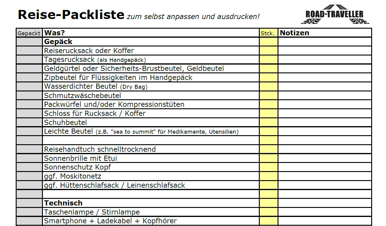 Reise Packliste in Excel zum Download