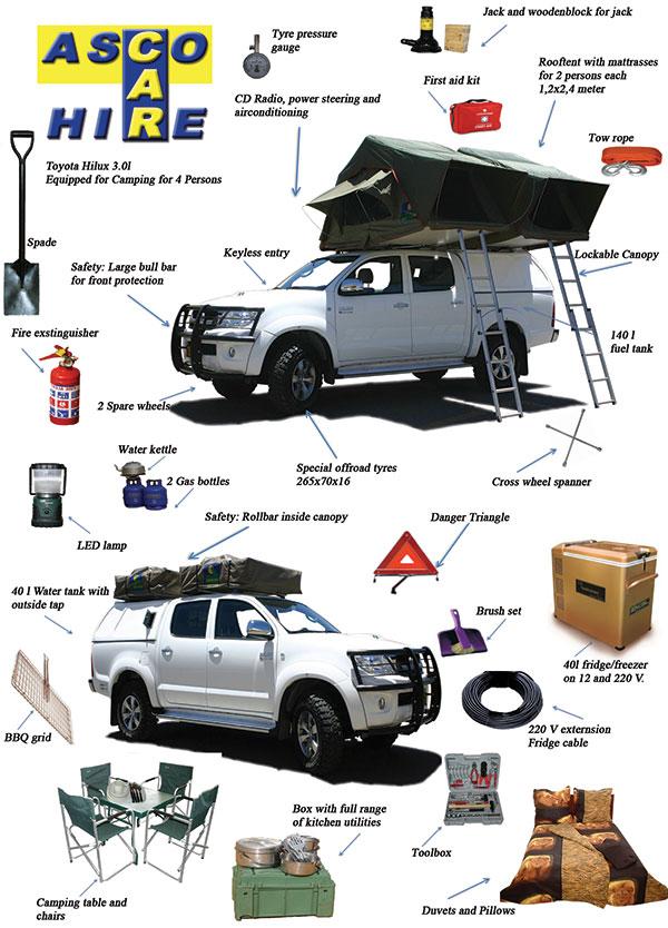 Ausstattung unseres Toyota Hilux bei Asco Car Hire