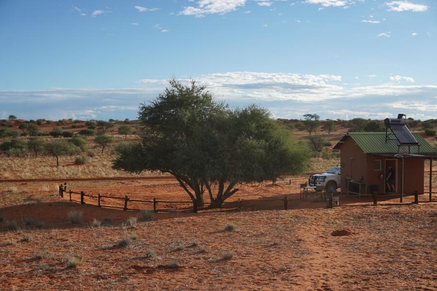Campsite auf der Bagatelle Kalahari Ranch