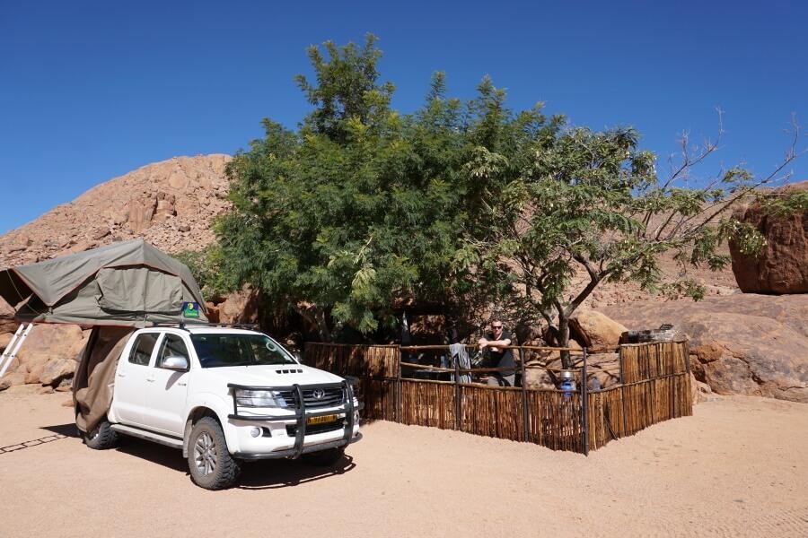 Unser Stellplatz auf der Campsite der Koiimasis Ranch