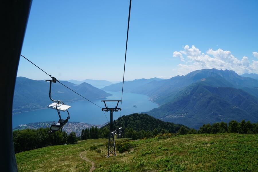 Seilbahn zum Aussichtspunkt Cimetta in Locarno am Lago Maggiore