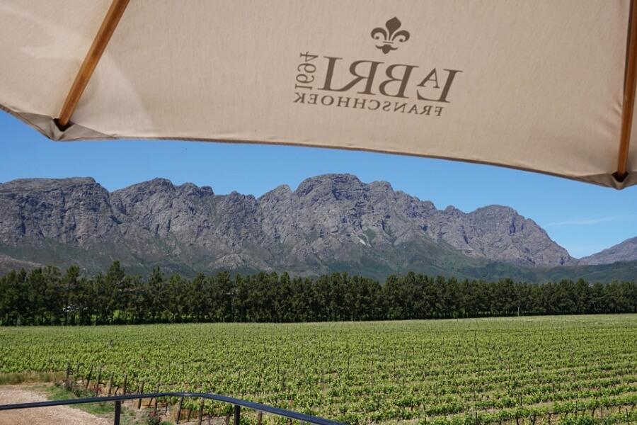 Ausblick vom Weingut La Bri in Franschhoek