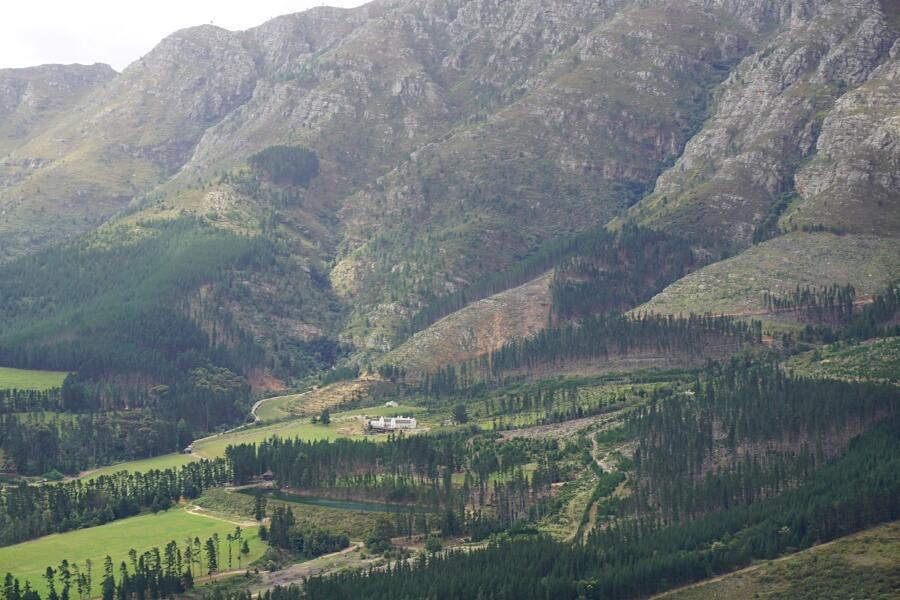 Ausblick auf ein Weingut in Franschhoek vom Franschhoek Pass aus