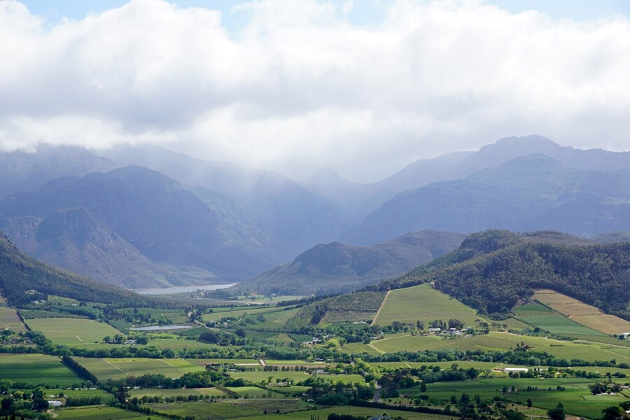 Ausblick auf das Franschhoek Wine Valley vom Franschhoek Pass