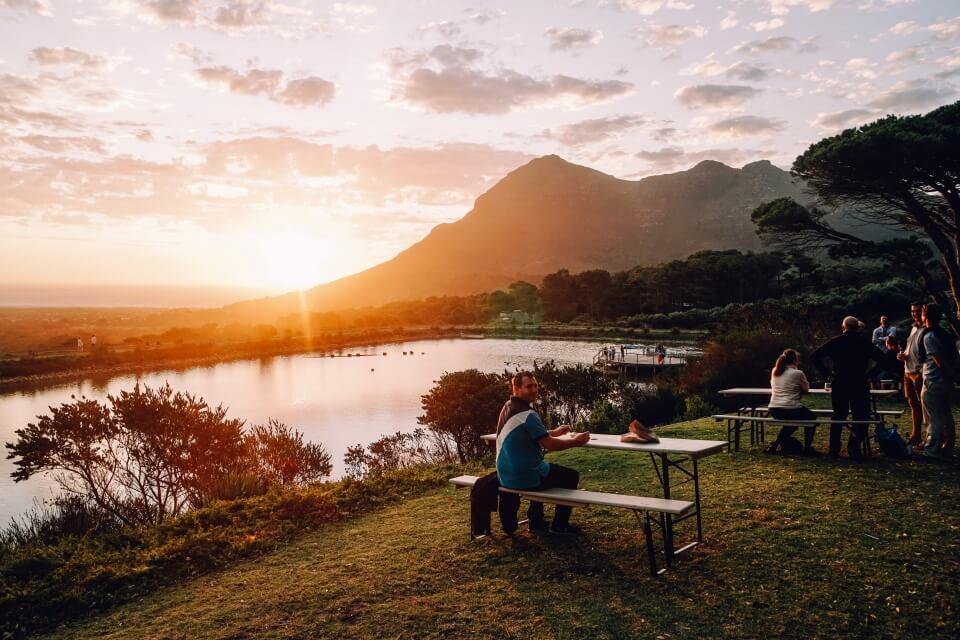 Aussicht bei Sonnenuntergang von den Cape Point Vineyards
