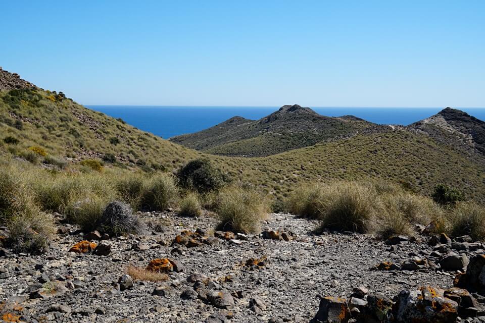 Vulkangestein und wilde Natur vor dem strahlendblauen Meer im Cabo de Gata Naturpark in Andalusien