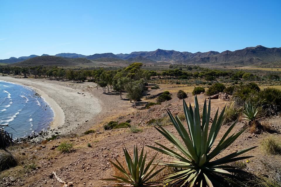 Blick ueber die Playa de los Genoveses bis ins Hinterland des Cabo de Gata