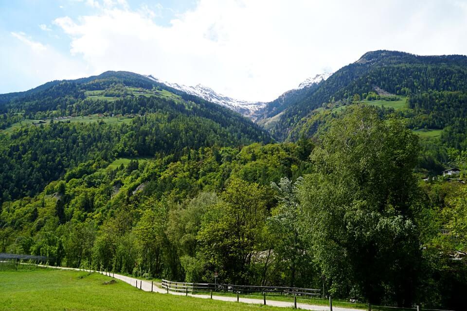 Ausblick vom Maiser Waalweg von Schenna nach Saltaus