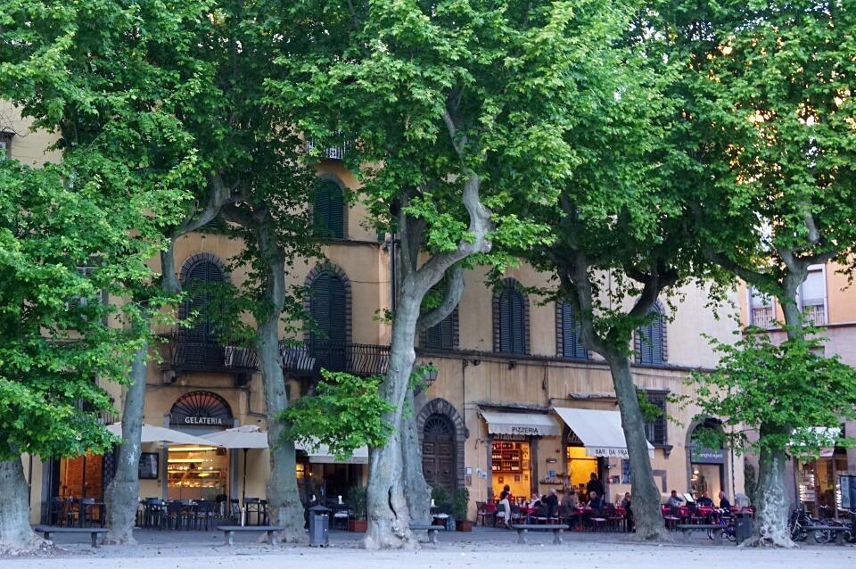 Franzoesisches Flair auf der Piazza Napoleone in Lucca