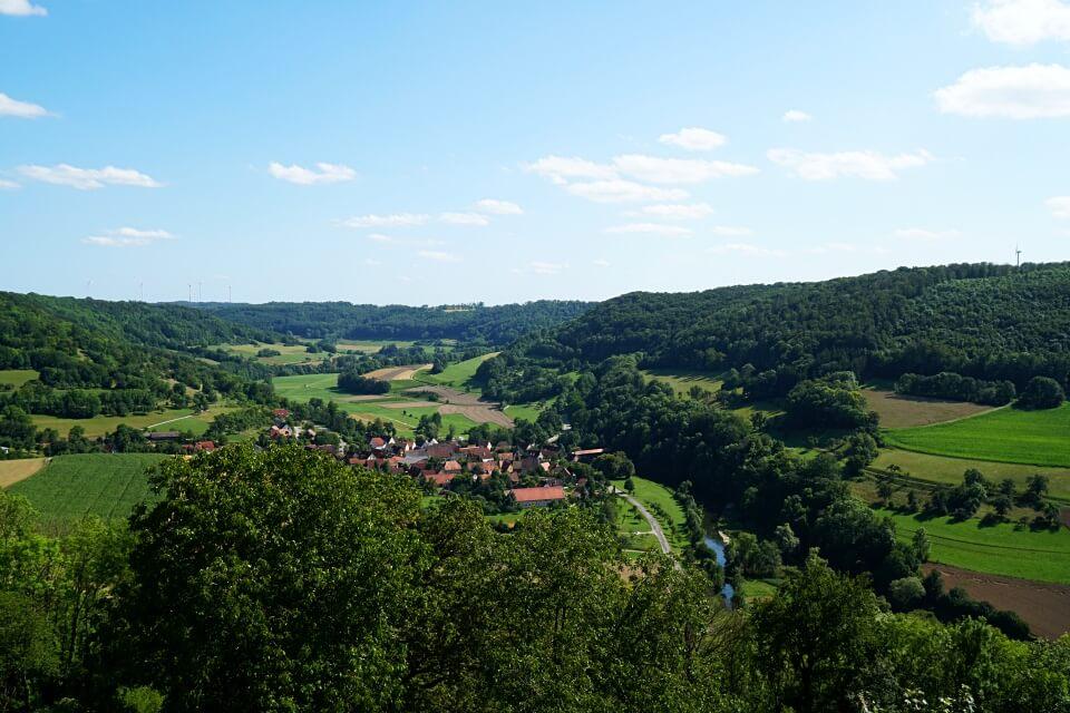 Ausblick von Langenburg auf das Jagsttal