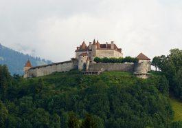 Schloss Greyerz in La Gruyeres in der Schweiz