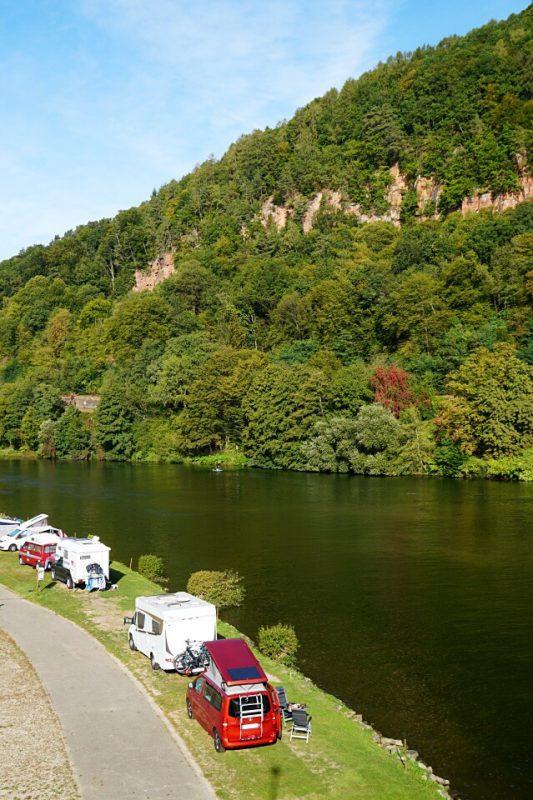 Campingplatz an der Friedensbruecke in Neckargemuend im Odenwald