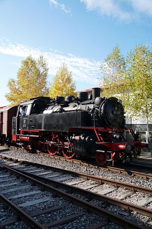 Die Dampflok der Schwaebischen Waldbahn in Welzheim