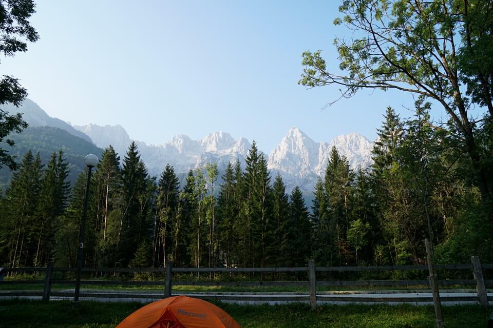 Ausblick von Camp Spik in Kranjska Gora Slowenien