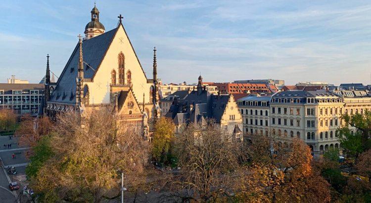 Blick auf die Thomaskirche in Leipzig