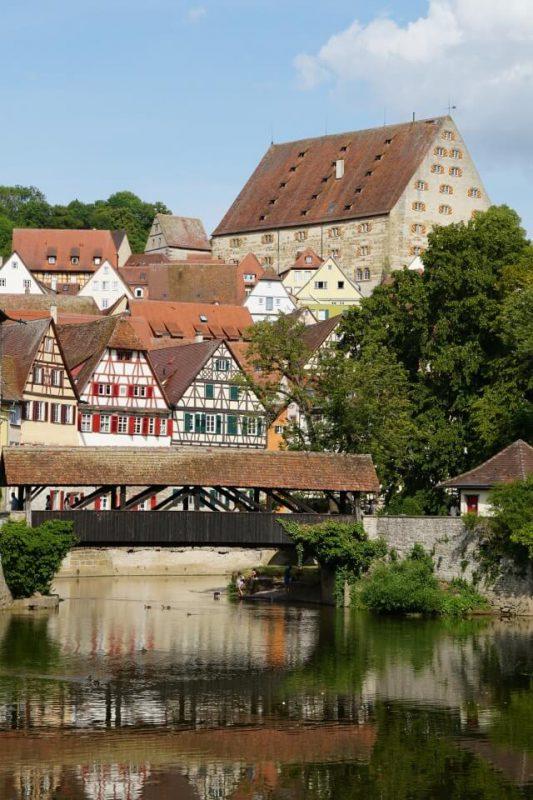 Blick auf die Fachwerkstadt Schwaebisch Hall in Hohenlohe