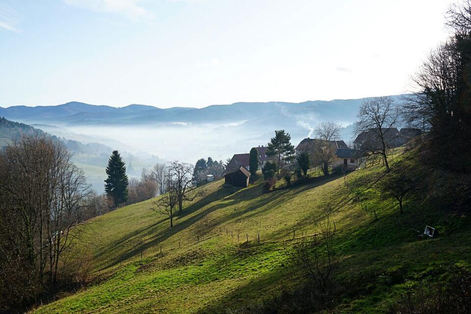 Ausblick vom Col de la Schlucht ins Munstertal im Elsass
