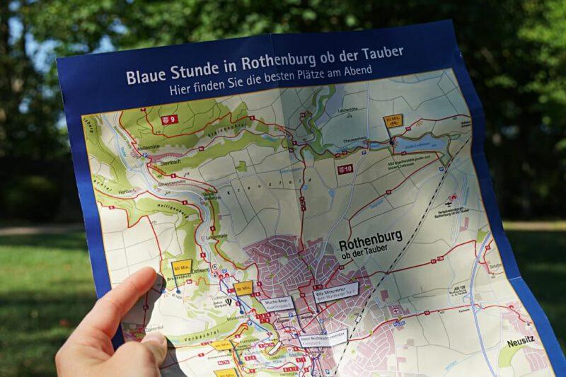 Wanderkarte mit tollen Picknick Plaetzen zur Blauen Stunde in Rothenburg