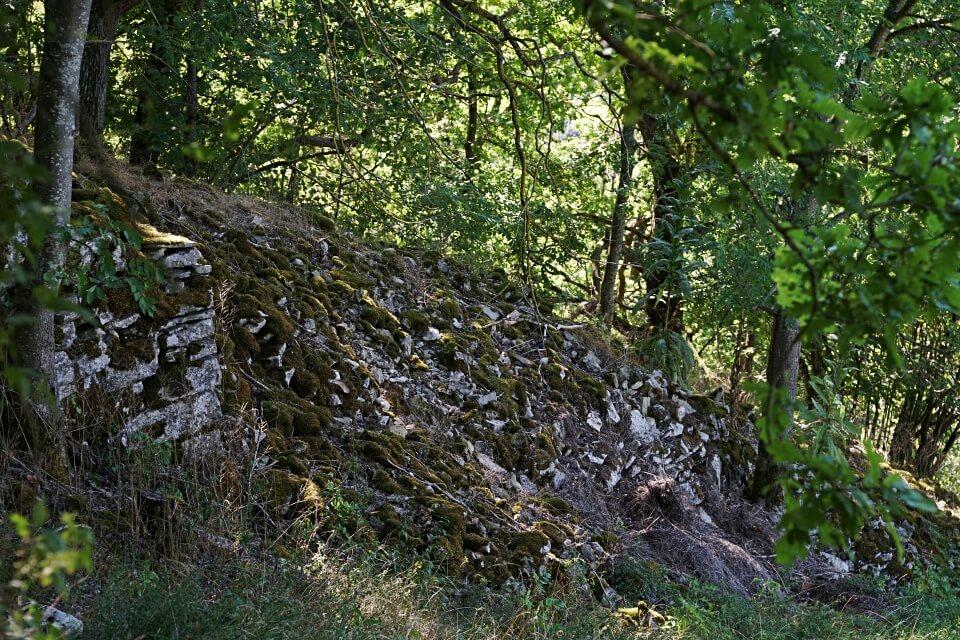 Steinriegel im Wald beim Wandern um Rothenburg ob der Tauber