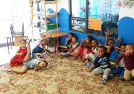 Kinder im Kindergarten Franks Heaven in Kylemore im Western Cape Suedafrika