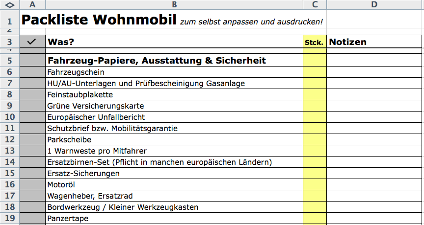 Packliste Wohnmobil Excel